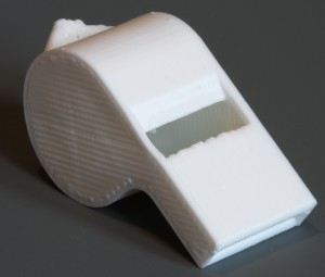 Image of a whistle created on a RepRapPro Huxley 3D printer